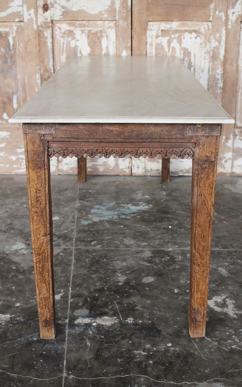 Antique Teak Wood Dining Table With Marble Top Rajasthan